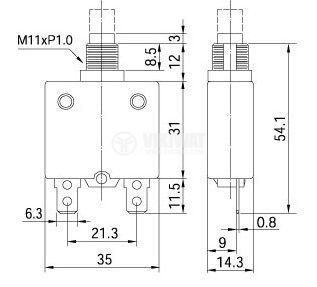 Токова защита, еднополюсна, ZE-700-12, 12 A , 250 VAC - 3