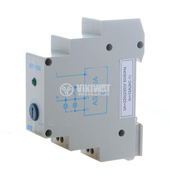 Стълбищен автомат, аналогов, AS1-10A, 220 VAC, регулируем обхват 0.5 - 5 min - 1