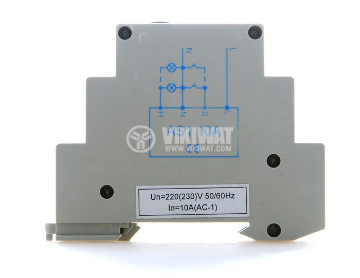 Стълбищен автомат, аналогов, AS1-10A, 220 VAC, регулируем обхват 0.5 - 5 min - 3