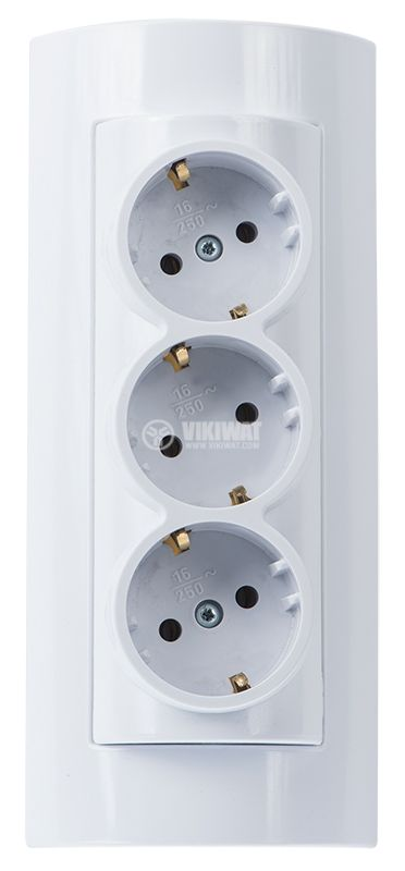 3-way power strip, without cable, 250VAC, 16A, white, cylindrical - 2