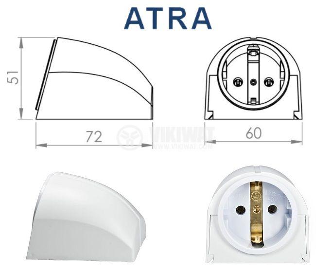 Стенен контакт шуко АТРА 7121, открит монтаж, 16A бял - 3