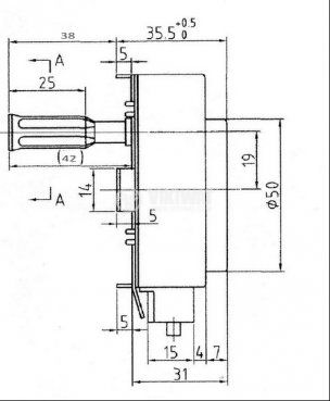 Електромотор с редуктор KX-B 240VAC/50Hz 6W клас H T125 1.8-2.2 rmp - 3