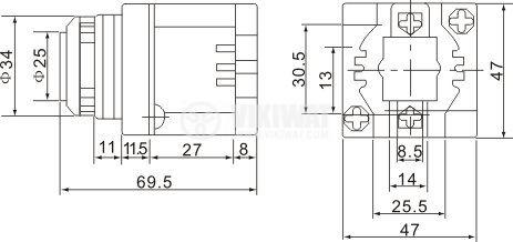 Пиезо сирена, 220 VAC, 80 dB - 2