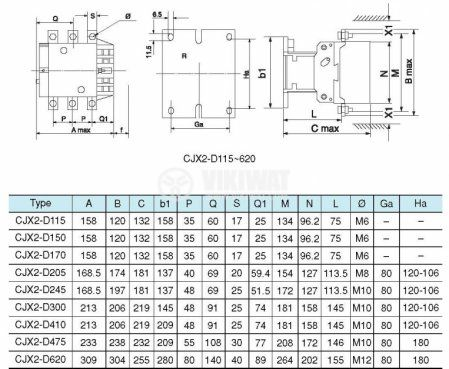 Contactor, three-phase, coil 220VAC, 3PST - 3NO, 115A, CJX2-D115 - 5