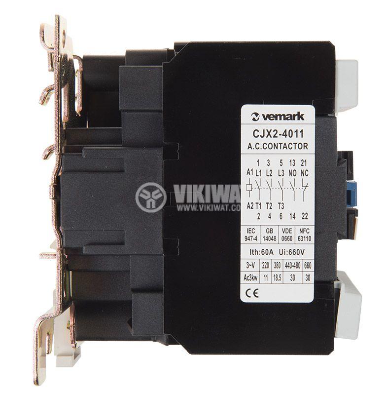 Contactor, three-phase, coil 24VAC, 3PST - 3NO, 40A, CJX2-4011, NO+NC   - 5