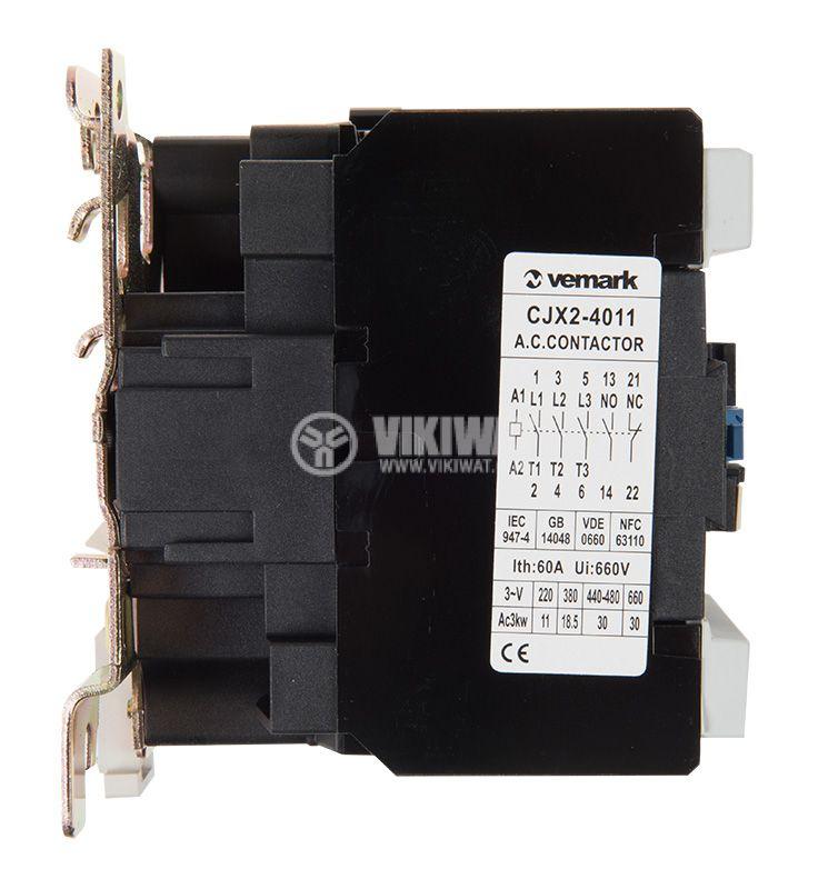 Контактор, трифазен, бобина 36VАC, 3PST - 3NO, 40A, CJX2-4011, NO+NC   - 5