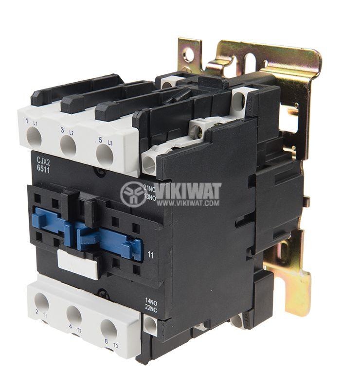 Contactor, three-phase, coil 24VAC, 3PST - 3NO, 63A, CJX2-6511, NO+NC   - 1