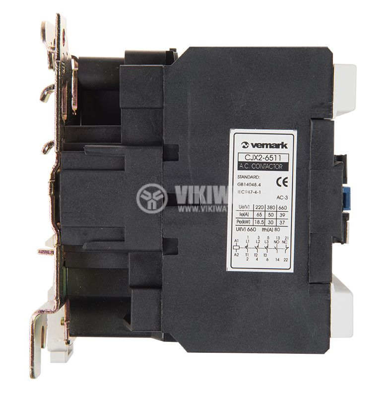 Contactor, three-phase, coil 24VAC, 3PST - 3NO, 63A, CJX2-6511, NO+NC   - 5