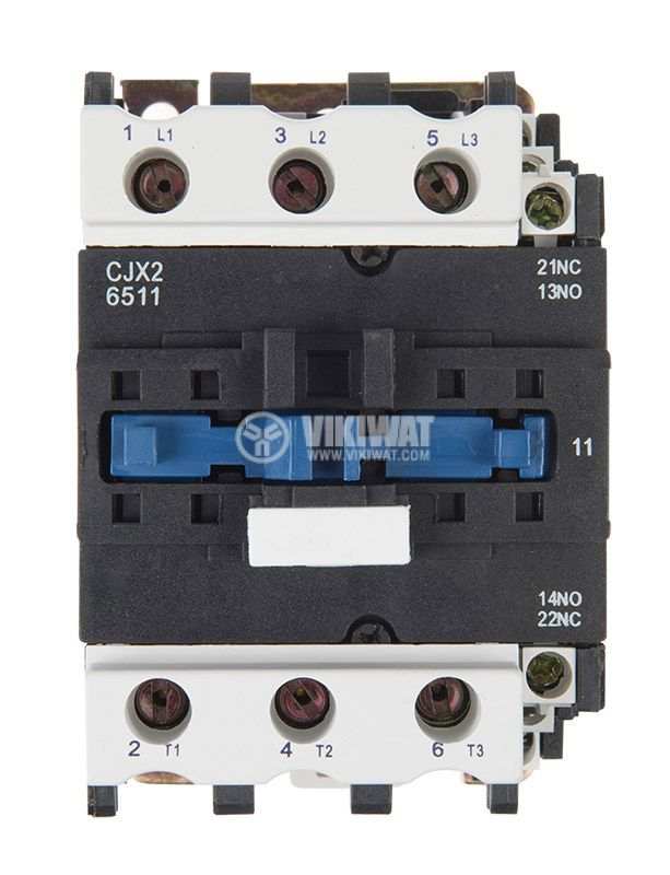 Contactor, three-phase, coil 24VAC, 3PST - 3NO, 63A, CJX2-6511, NO+NC   - 6