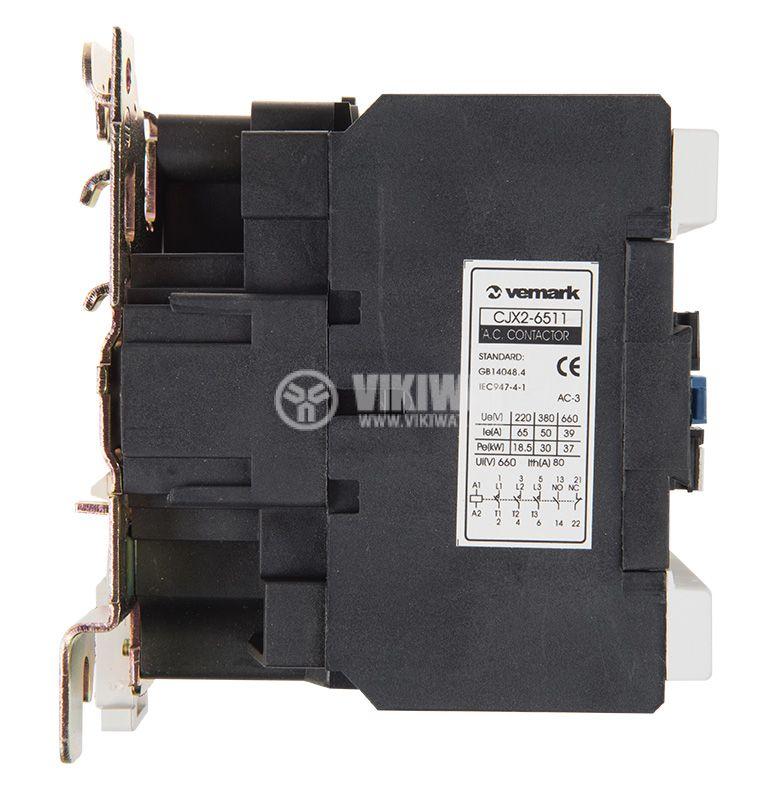 Контактор, трифазен, бобина 48VАC, 3PST - 3NO, 63A, CJX2-6511, NO+NC - 5