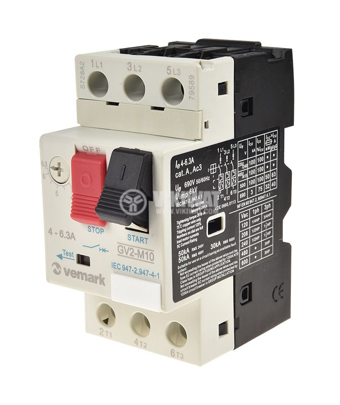 Motor protection circuit breaker GV2-М10, three-phase, 4-6.3 A - 1