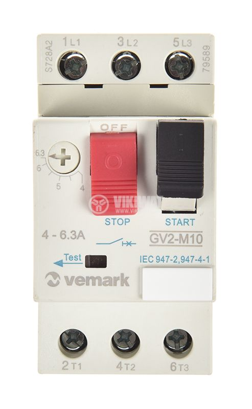 Motor protection circuit breaker GV2-М10, three-phase, 4-6.3 A - 5