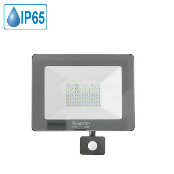LED floodlight with sensor 50W, 220VAC, 4000lm, 6500K, cool white, IP44, waterproof, SLIM, BT60-25032 - 1