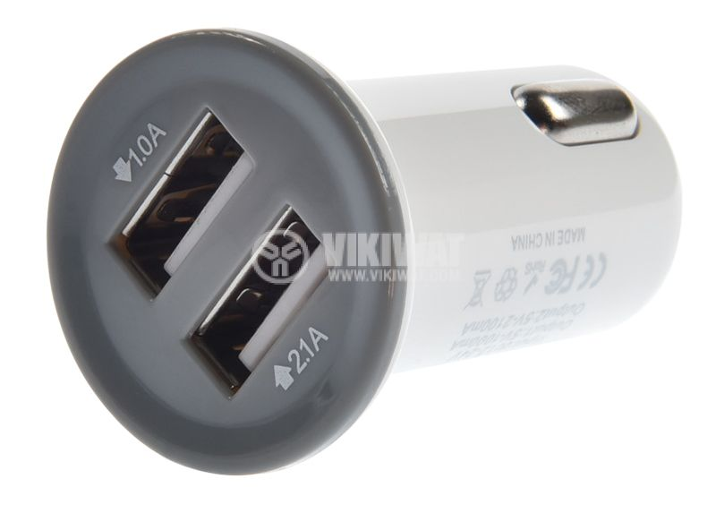 Car charger 12 / 24VDC with USB outputs, 5V, 2.1A - 2