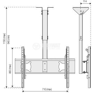"TV Ceiling Mount Stand 709, 65"", tilt - 2"