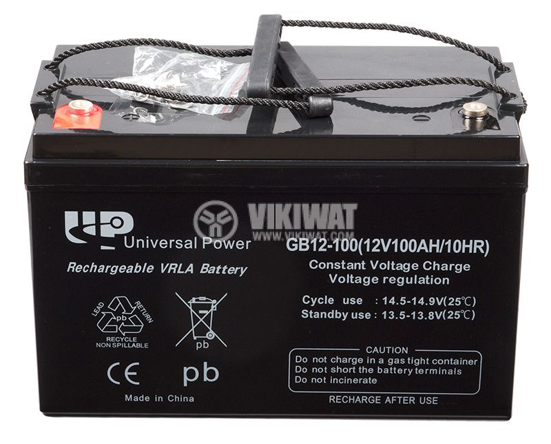 Battery, 12VDC, 100Ah, rechargeable, constant voltage, encapsulated - 1