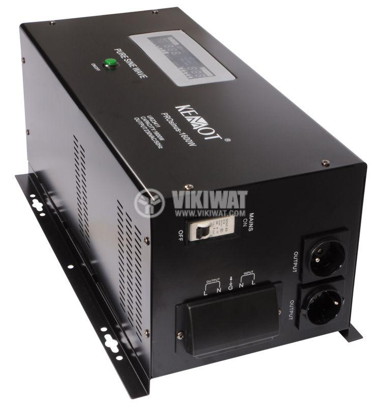 Инвертор със зарядно KEMOT URZ3411 PROsinus-1600, UPS, 12VDC-220VAC, 1600W, истинска синусоида - 1