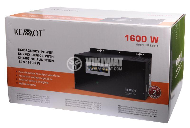 Аварийно захранване за пелетна горелка KEMOT URZ3411 PROsinus-1600, UPS, 12VDC-220VAC, 1600W, истинска синусоида - 4