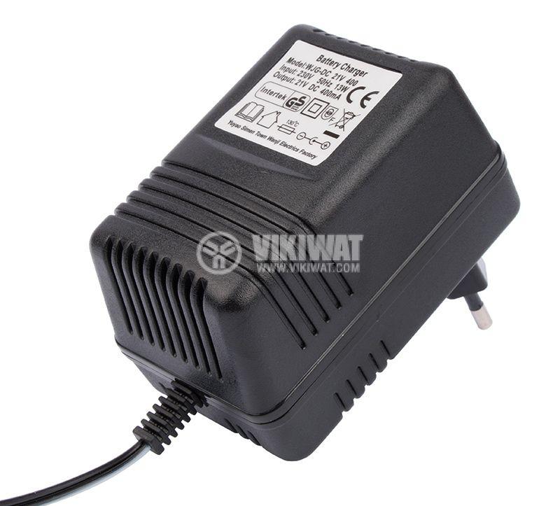 Adapter, 21VDC, 0.4A, 13W, 230VAC, 5.5x2.1mm - 2