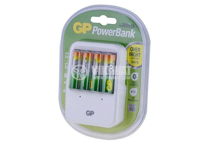 Импулсно зарядно устройство GP Power Bank PB420 за акумулаторни батерии GP Power Bank NiMH размери AA/AAA - 1