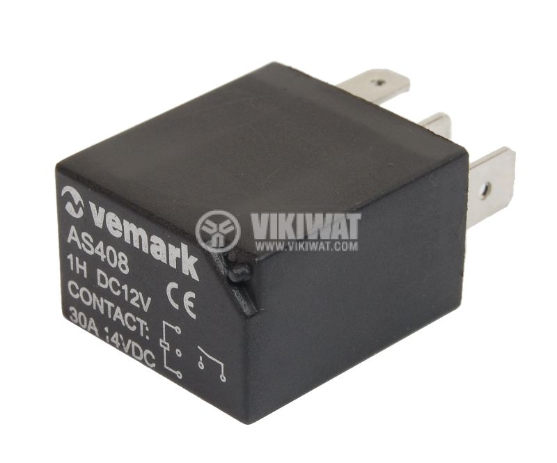 Electromagnetic relay AS408  coil 12VDC 14VDC/30A SPST NO - 1