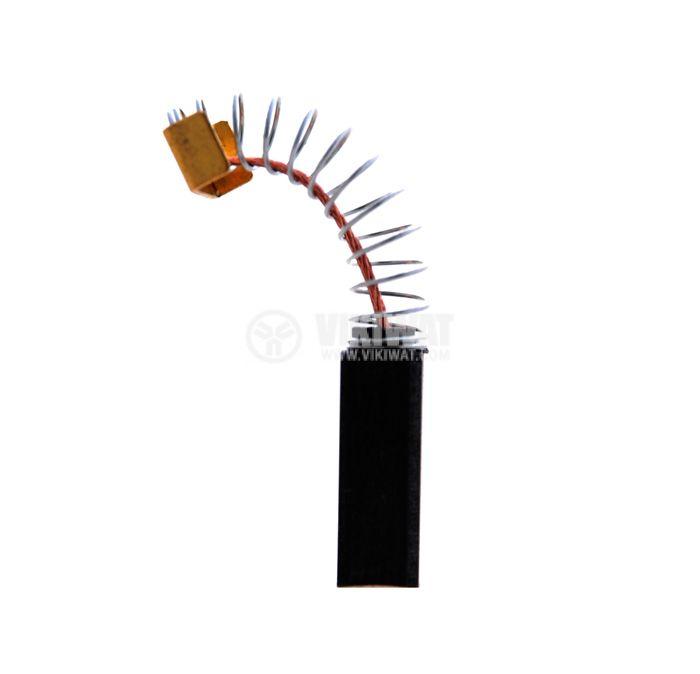 Четка въглено-графитна, SG-08-026-88, 6x8x18 mm, с централен извод, пружина и П-образен накрайник