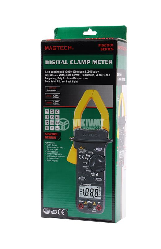 Multimeter Current clamp MS2101, LCD (4000), Φ42mm, Vac, Vdc, Aac, Adc, °C, F, Ohm, Hz - 8