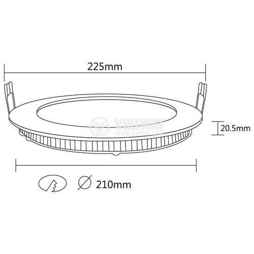 LED панел за вграждане 18W, кръг, 220VAC, 1360lm, 3000K, топлобял, ф225mm, SLIM, BP01-31800 - 2