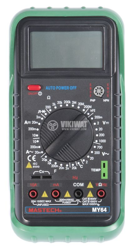 Multimeter MY64, LCD, VAC, VDC AAC, ADC, Ohm, ° C, Hz - 4
