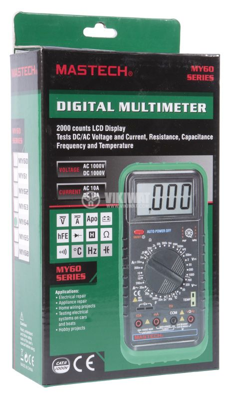 Multimeter MY64, LCD, VAC, VDC AAC, ADC, Ohm, ° C, Hz - 5