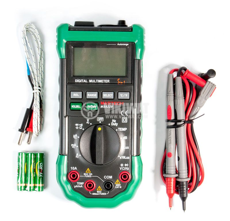 Multimeter MS8229G, Vdc, Vac, Adc, Aac, Ohm, F, Hz, °C, dB, Lux - 6