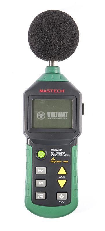 Уред за измерване нивото на звука MS6702, термометър и влагомер - 1