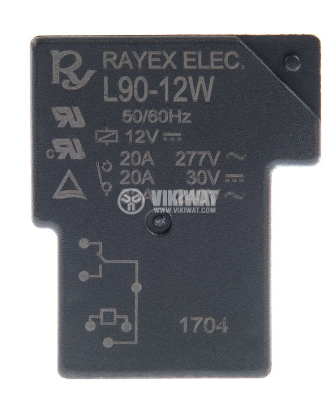 Relay electromagnetic, L90-12W, with coil 12VDC, 240VAC / 30A, SPDT - 1