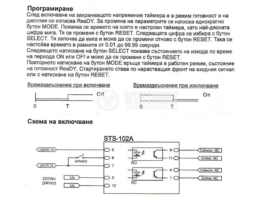 Time Relay, STS102-04MA, 24 VAC/DC, 1NO +1 NC, 30 V, 0.1 A, 0.01 s-99.99 s, output optocouplers - 2