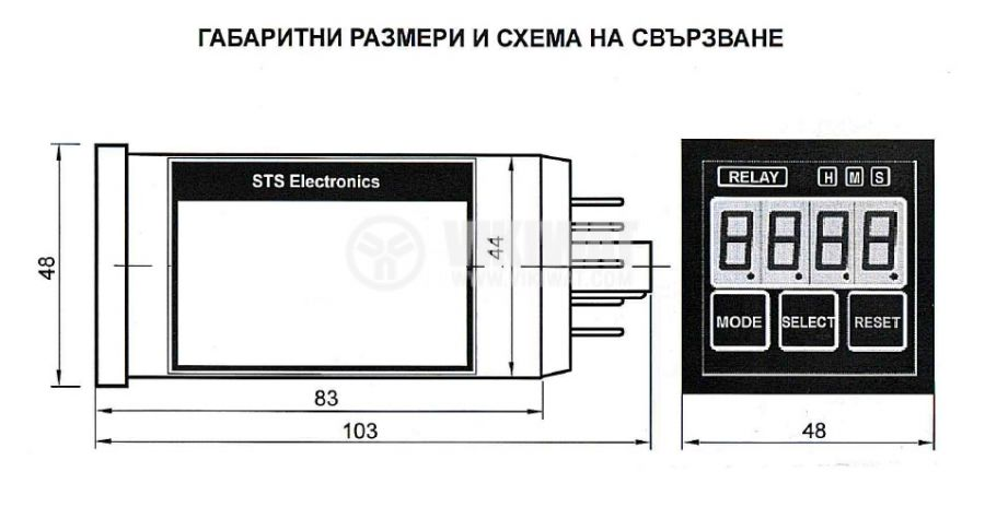 Time Relay, STS102-04MA, 24 VAC/DC, 1NO +1 NC, 30 V, 0.1 A, 0.01 s-99.99 s, output optocouplers - 3
