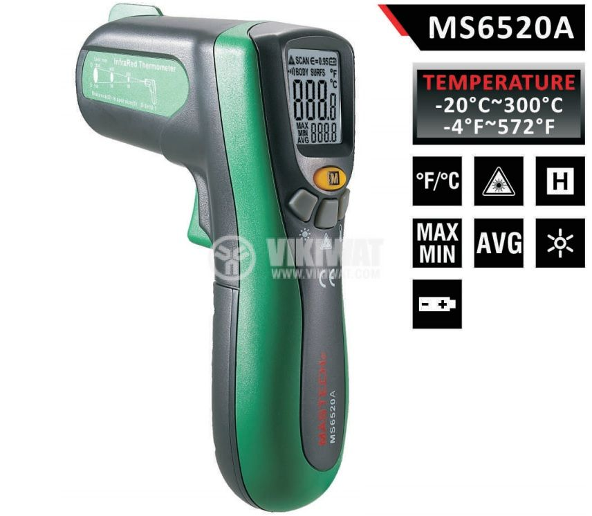 Infrared thermometer, MS6520A, - 20 °C to +300 °C, D:S 10:1 - 1
