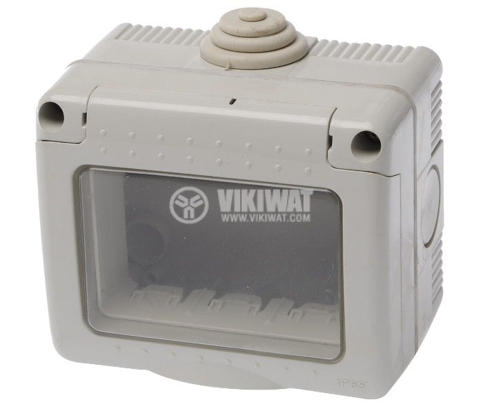 Box for switches and sockets, LEXA LK, surface mount, gray, IP55