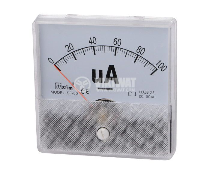 Ammeter, 0-100 uA, DC, 80x80 mm, SF-80 - 1