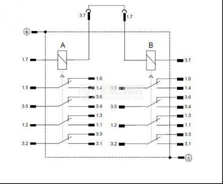 Електромагнитно специално реле бобина 220VAC  250VAC/10A 8PDT - 8NO+8NC 4 RH 40 - 2