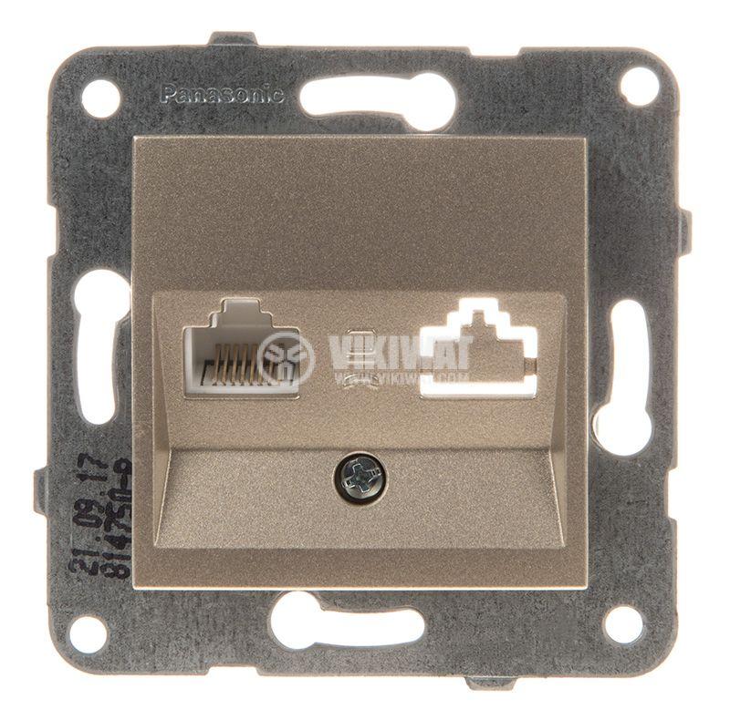 Telephone and Data socket, RJ45 Cat5e, bronze, WKTT0404-2BR, mechanism+cover plate - 1