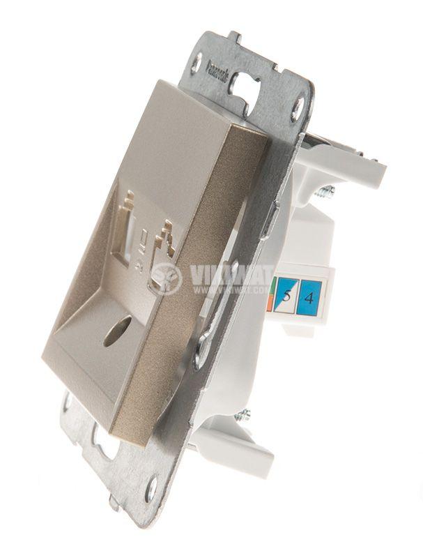 Telephone and Data socket, RJ45 Cat5e, bronze, WKTT0404-2BR, mechanism+cover plate - 2