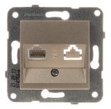 Telephone and Data socket, RJ45 Cat5e, bronze, WKTT0404-2BR, mechanism+cover plate