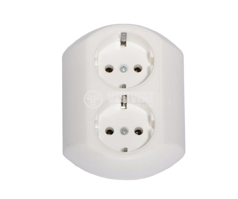Double electrical outlet, single phase, 250VAC, 16A, white, ellipse, in-wall mounitng - 1