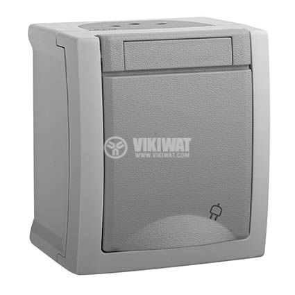 Electrical socket, Panasonic, 2P+E, complete, single, 16A, 250VAC, gray, IP54, outdoor installation, WPTC4212-2GR - 1