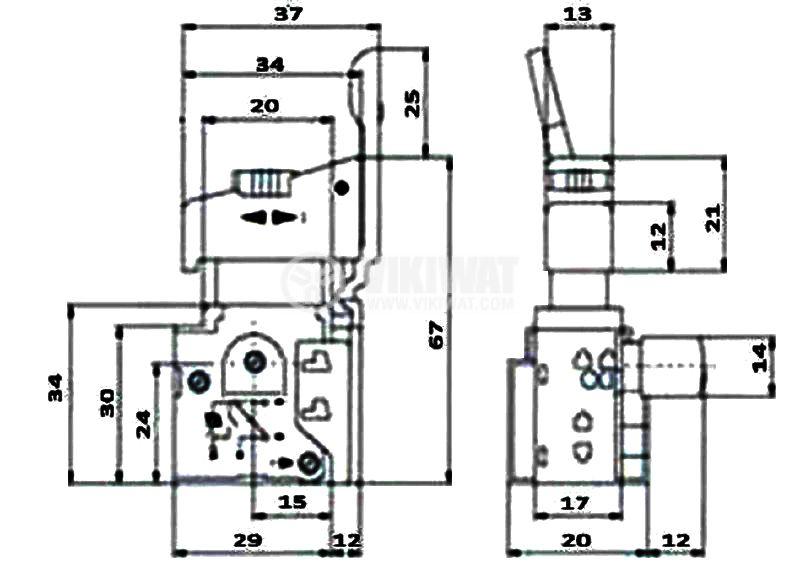 Електрически прекъсвач (ключ), регулатор на обороти и реверс за ръчни електроинструменти F2-6/1BEK 6A/250VAC - 3