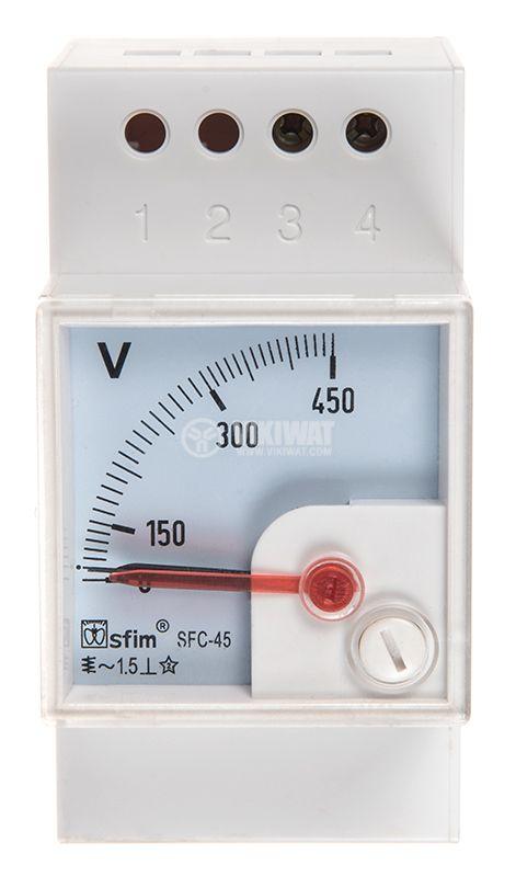 Волтметър SFC-45 100-450V директен еврошина - 1