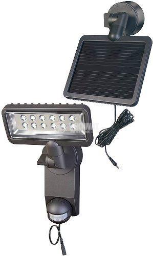 LED прожектор със соларно захранване и сензор за движение, Brennenstuhl, 6W, IP44, 6000K, студенобял - 1