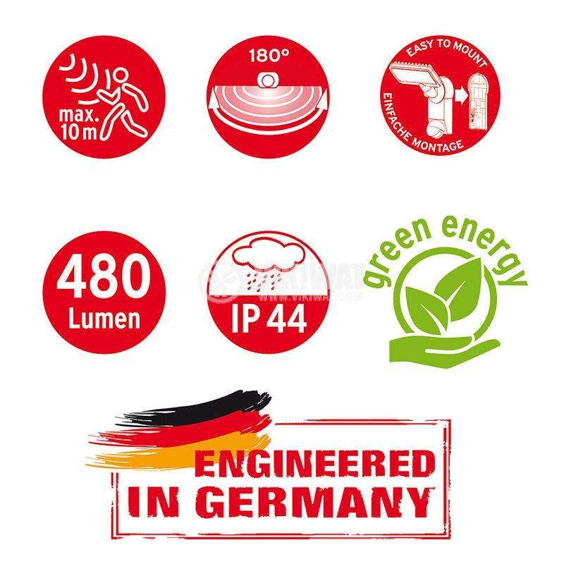 Соларен LED прожектор със сензор за движение, Brennenstuhl, 6W, IP44, 6000K, студенобял - 8