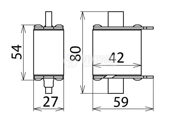 Fuse, NH00-(20100), 100A, 500VAC, gG/gL, knifeblade - 2