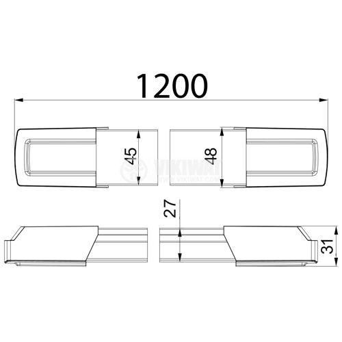 LED тяло за стена PROLINE-D, 36W, 220VAC, 3000lm, 3000K, топло бяла, 1200mm, BN19-01230 - 3